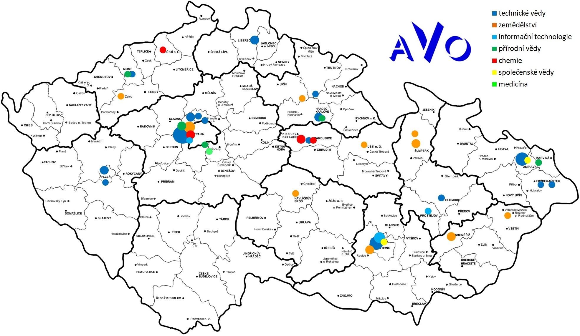 Mapa členů AVO